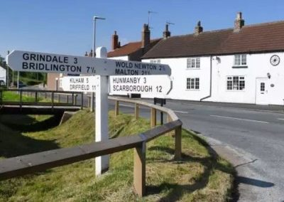East Riding painted road sign