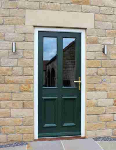 Half glazed 4 panel painted door