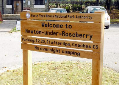 North York Moors National Park Newton-under-Roseberry sign stack