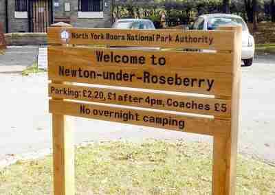North York Moors National Park Newton-under-Roseberry sign stack
