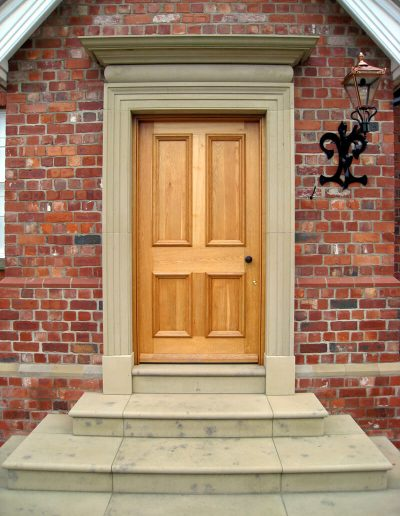 Oak panelled door with bolection moulds