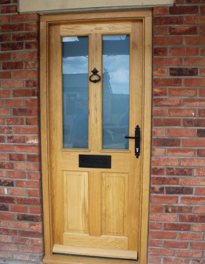 Oak half glazed 4 panel door