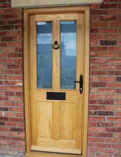 Oak half glazed 4 panel door