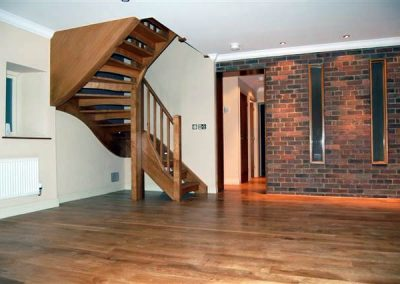 Oak stair with open riser detail