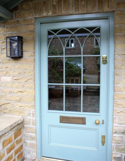 Wood Entrance Door with Gothic arched glazing bars