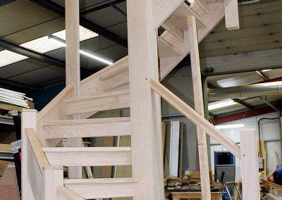 Curved stairs being constructed in our factory