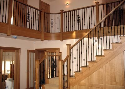 Oak stairs with metal spindles
