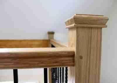 Oak newel post and handrail
