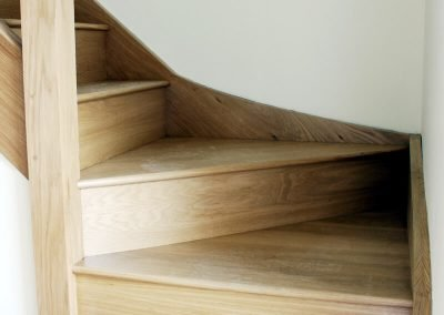 Oak stairs with bottom bullnose tread