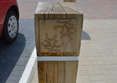 Laser engraving to oak bollard