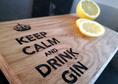 Keep Calm and Drink Gin laser engraving